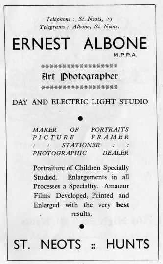 Ernest Albone, Photographer, advert - 1930s