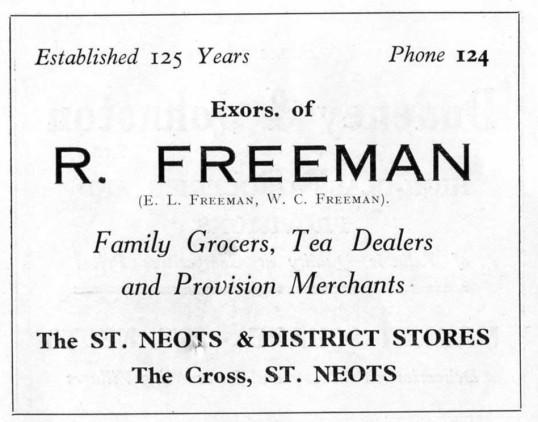 Freemans Grocers, Cambridge Street, advert - 1930s