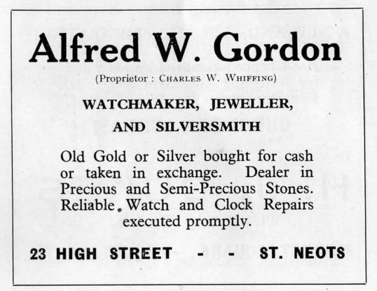 Gordons watchmaker and jewellers, 23 High Street, advert - 1930s