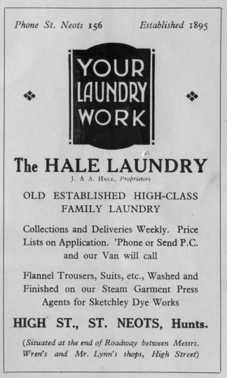 Hale Laundry, High Street, advert -1930s