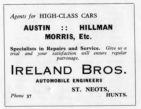 Ireland Bros Automobile Engineers, New Street, advert - 1930s