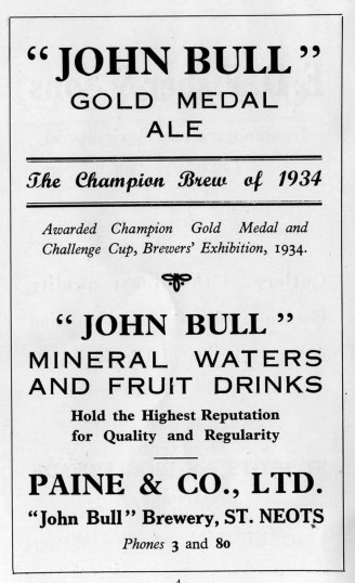 John Bull Ale advert - Paine and Co, St Neots - 1930s