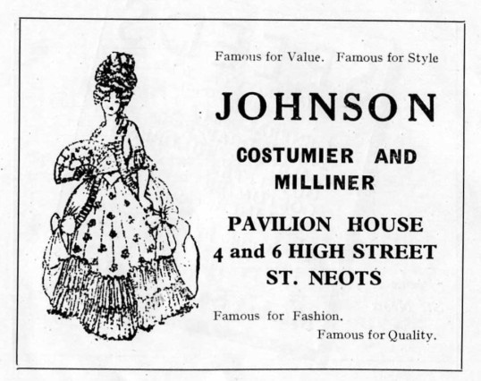 Johnson Costumier, High Street, advert - 1930s