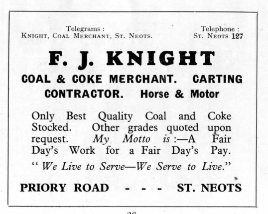 Knights Coal and Coke Merchant, Priory Road, advert - 1930s
