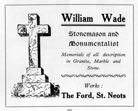Wade Stonemasons in Eaton Ford, advert - 1930s