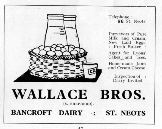 Wallace Bros Dairy, St Neots, advert - 1930s