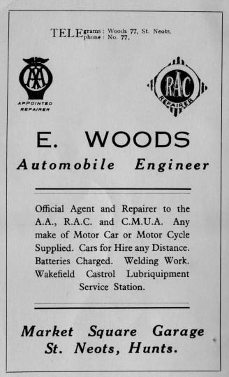 Woods Automobile Engineer, Market Square, advert - 1930s