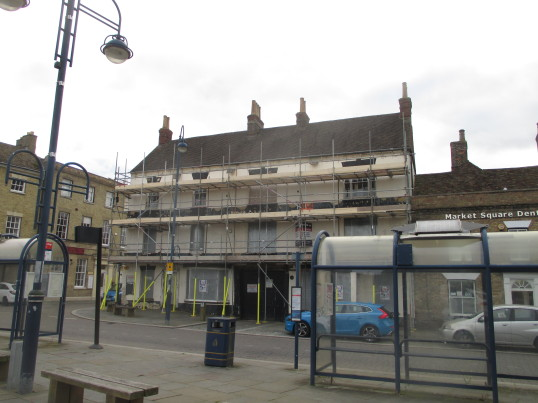 Old Falcon St Neots Market Square - being painted - 13th Oct 2015