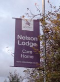 Banners for the Nelson Lodge Care Home, Whinfell Road, Eaton Socon, were placed on lamp posts on 6th Oct 2016