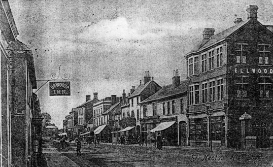 High Street - looking west from the Dewdrop Inn and Congregational Church - about 1900