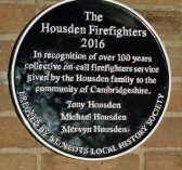 The Housden Firefighters Plaque for over 100 years of service