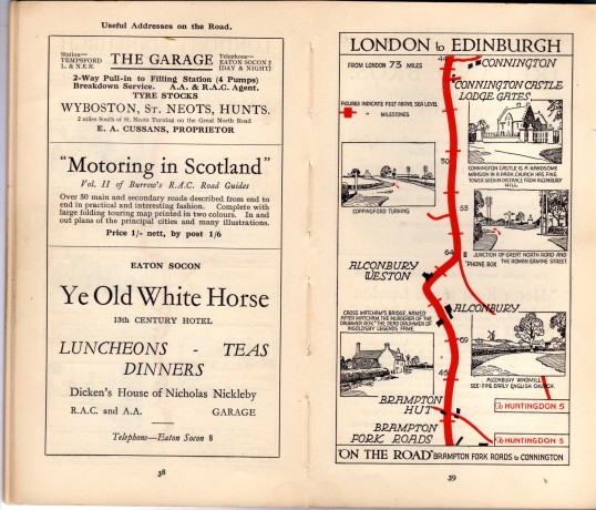 Ye Old White Horse, Eaton Socon advert - in the 'On the Road Dunlop Pictorial Road Plans Book, 1926
