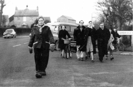 Dr Barbara Moore passing through Eaton Ford in 1959.