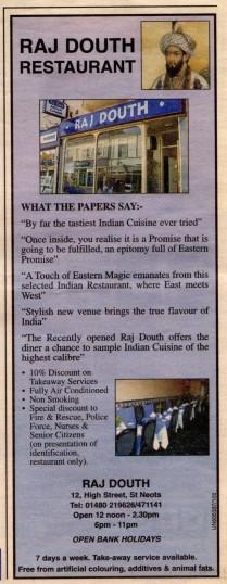 Raj Douth Indian Restaurant advert 12th August 2004