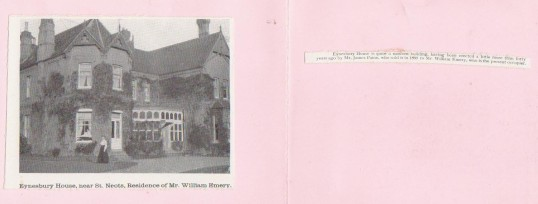 Eynesbury House - the front on a card showing the house - around 1910.