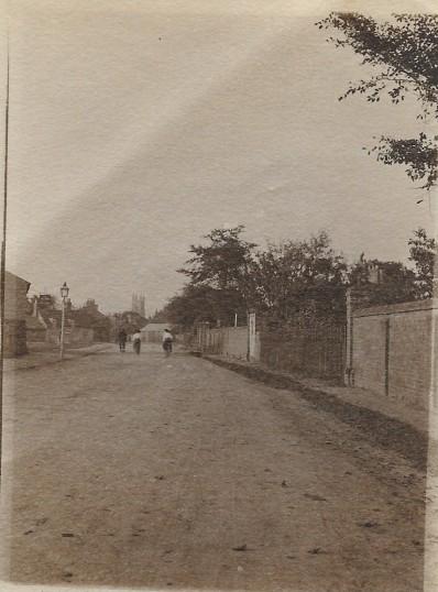 View along Berkley Street looking north towards Eynesbury Green near the gates of Eynesbury House  - 1908