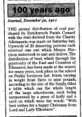 Stetchworth - charity distribution of coal and beef at Christmas. Courtesy of Newmarket Journal.