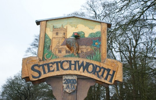The Stetchworth village sign.  Designed and erected in Millennium year by the people of the parish.