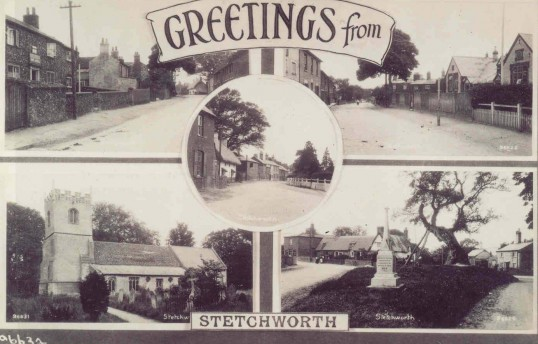 Post card of Stetchworth, showing views of the High Street, the Church and the War Memorial.