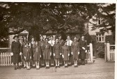 Stetchworth Girls Life Brigade taken in front of cottages now known as 99 and 101 High Street, Stetchworth.