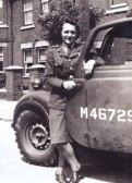 Queenie Cockerton with her Army vehicle at Hunstanton.