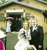 Wedding of Andrea Cooke and Lyndon Davies at Stetchworth United Reformed Church.