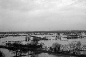 Fenland floods in Swavesey 1974 - from the church tower.. Description