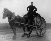 James Shepperson  with horse and cart on Buckingway Road Swavesey.. Description