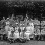 A group outside the Old House, Blackhorse Lane, Swavesey.. Description