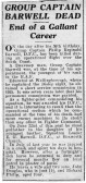 Announcement of the death of Philip Barwell DFC.. Description