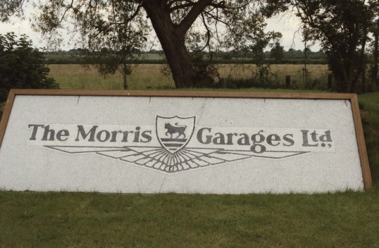 Sign in front of the new MG Owners' Club headquarters in Swavesey.. Description