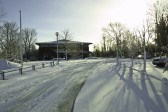 MG Owners Clubs new headquarters in Swavesey in the snow.. Description