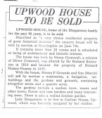 Newspaper article (from Hunts Post) about forthcoming sale of Upwood House.