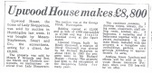 Newspaper article from Hunts Post detailing sale of Upwood House