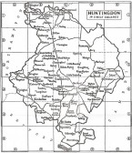 Huntingdonshire map showing location of Upwood.  From The King's England first published in 1939 .