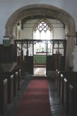 Upwood Church.  Chancel arch; approx date 1100AD.  Screen dates from 15th century.