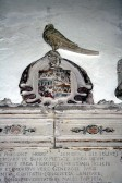 Upwood Church.  Pheasant family coat of arms.  Judge Peter Pheasant bought Upwood house in 1648.