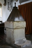 Upwood Church, font.  Font probably dates to 12th century and wooden pyramid lid to 17th century.