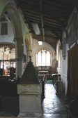 Upwood Church.  South aisle added in 13th century.  Windows contain fragments of 15th century glass.  Font 12th century.