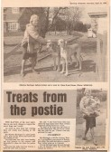 Evening Telegraph report about Marlene Barringer the village post lady and her trick of keeping the dogs happy on her round.