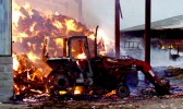 Fire at McCreadie's White House Farm Great Raveley, where three tractors were destroyed along with many tons of straw