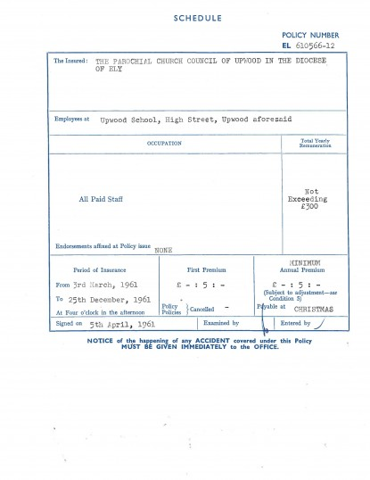 Page 7 of the School insurance details