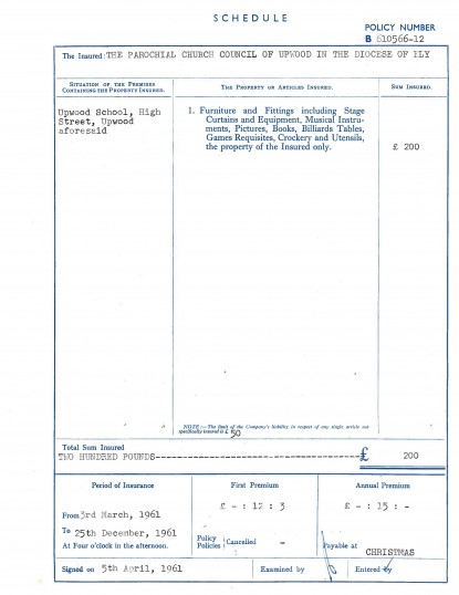 Page 9 of the School insurance details