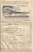 Receipt from W. Hazell Cash Supply Stores, High Street - early 1900s.