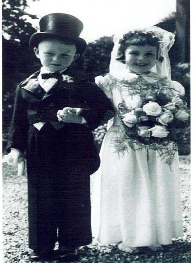 Anne Morris (bride), Adrian Furness (groom). Winners of the village garden fete fancy dress