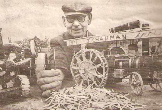 Mr Chapman with a traction engine made from matchsticks