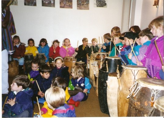 Wilburton school children beating the drums at the african centre 14 06 1993