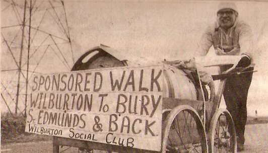 Mr Frost of Wilburton doing a charIty ride from Bury St Edmunds to Wilburton.