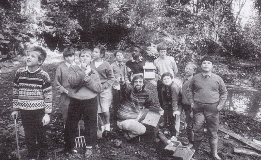 Children at the Manor School, Wilburton (now Harbour School) helping with conservation work.