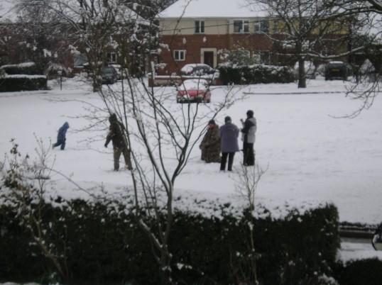 Wilburton family enjoying the snow at Easter